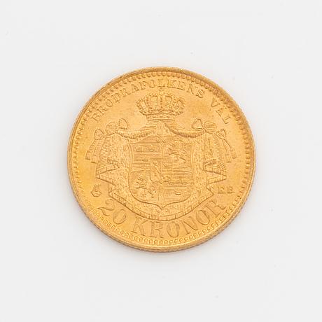 Oscar ii, guldmynt, 20 kr, 1890, typ iii.