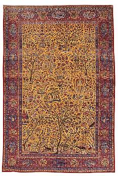 293. A carpet, a semi-antique silk Kashan figural, ca 309-310 x 204,5-207 cm.