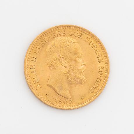 Oscar ii, guldmynt, 20 kr, 1900, typ iv.