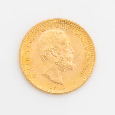 Oscar ii, guldmynt, 20 kr, 1901, typ iv.
