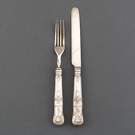 12 silver knives and 12 forks, mark of john & henry lias,  london 1844.