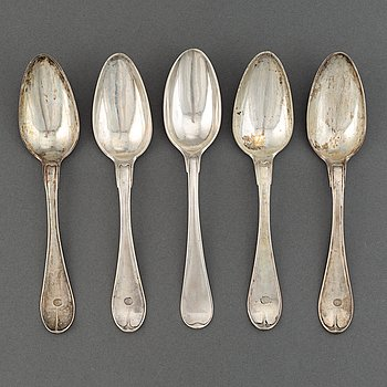 Five Swedish silver spoons, Ulfsberg, Nyköping 1797 and 1811.