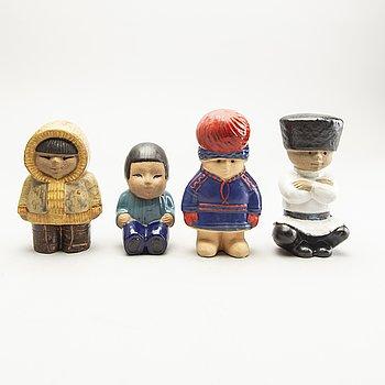 Lisa Larson, figurines, 4 pcs, stoneware. Rörstrand.