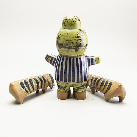 Lisa larson, figurines, 3 pcs, stoneware, gustavsberg.