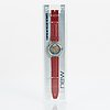 Swatch, automatic, red ahead, wristwatch, 34 mm.
