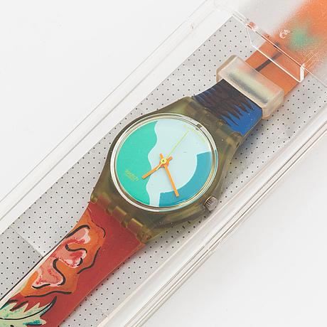 Swatch, papaya swing, wristwatch, 25 mm.