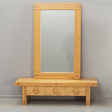 "Bench / chest of drawers, fröseke, nybrofabriken, ""ruben"", mirror fur, 1970s."