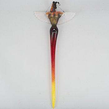 """Kjell Engman, glass sculpture, """"Watching angels"""", Kosta Boda, signed."""