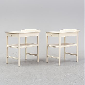 A pair of 'Birgitta' bedside tables by Carl Malmsten for Bodafors dated 1962.