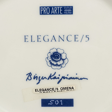 A porcelain plate, 'elegance/5' by birger kaipiainen, numbered 501, pro arte arabia.