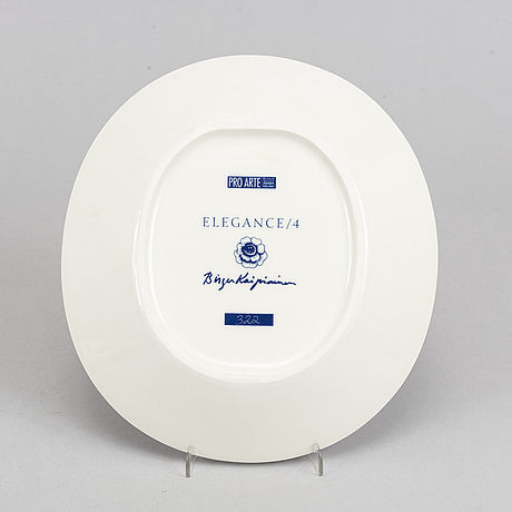 A plate, 'elegance/4' by birger kaipiainen, numbered 322, pro arte arabia.