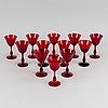 Twelve ruby red goblets by björn trädgårdh for reijmyre.