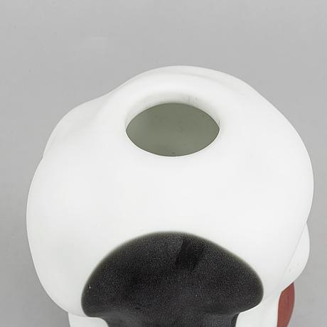 A glass vase by per b. sundberg, 'kokkobello', for orrefors, dated 2000.