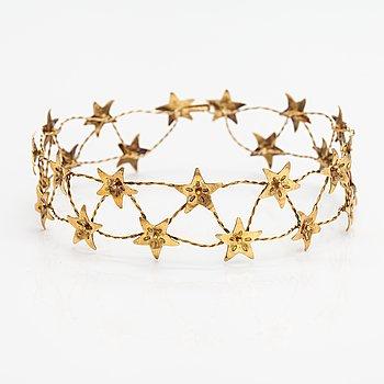 "Germund Paaer, A gilded sterling silver wedding crown ""Evening jewel"". Kalevala Koru, Helsinki 2002."
