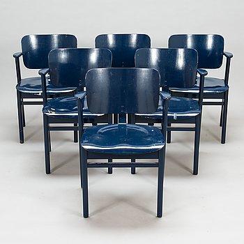 Ilmari Tapiovaara, A set of six 1950s chairs 'Domus' for Keravan Puutoellisuus, Finland.