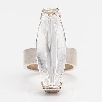 "Björn Weckström, A sterling silver ring ""Luminoso"" with a munsteiner cut rock crystal. Lapponia 2009."
