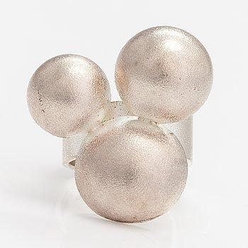 "Mari Isopahkala, A sterling silver ring ""Winter pearls"". Lapponia 2013."