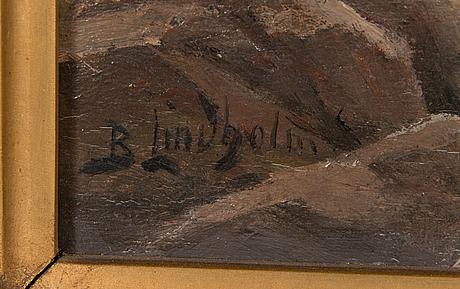 Berndt lindholm, oil on panel, signed.