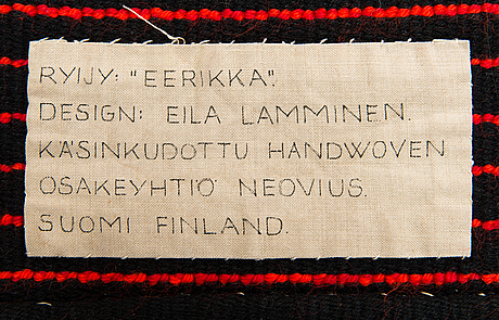 Eila lamminen, rya, modell för neovius. ca 215x140 cm.
