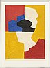 Serge poliakoff, after, lithograph in colours, signed serge poliakoff in the print and numbered 77/90 with pencil.