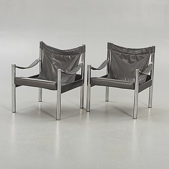 Armchairs, a pair, so-called safari model, Johanson Design, second half of the 20th century.