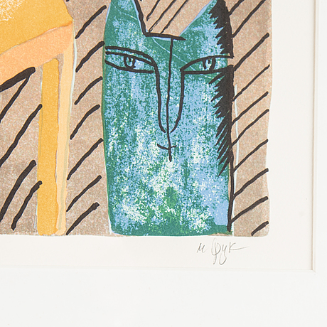 Madeleine pyk, färglitografi, signerad 28/380.