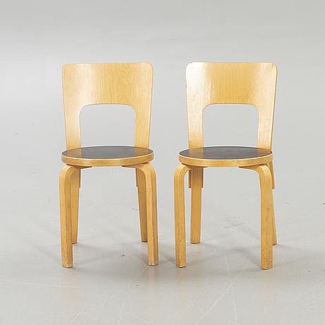 "Alvar aalto, chairs ""66"", 2 pcs model 66 artek later part of the 20th century."
