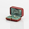 18k gold and pearl shirt buttons, c.g. hallberg, stockholm 1906. original box.
