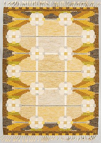 "A flat weave ""dellen"", signed is ca 230 x 167 cm."