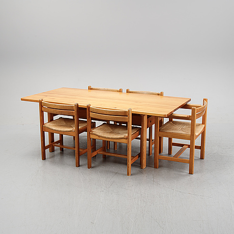 """Børge mogensen, dining table, 4 chairs + 1 armchair with rope seats, """"asserbo"""", company karl andersson & sons."""