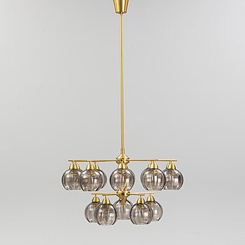 Holger Johansson, Westal, Bankeryd, probably. A brass chandelier, second half of the 20th Century.