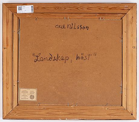 Axel nilsson, olja på pannå, signerad.
