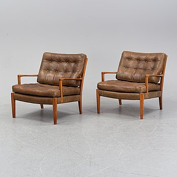 A pair of lazy chairs, 'Löven' by Arne Norell, second half of the 20th century.