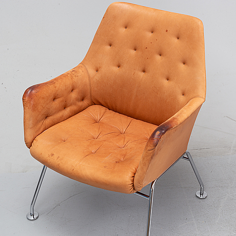 Six leather armchairs, 'mirja', by bruno mathsson for dux.
