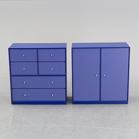 A chest of drawers, cabinet and shelf with spotlights, montana, denmark.