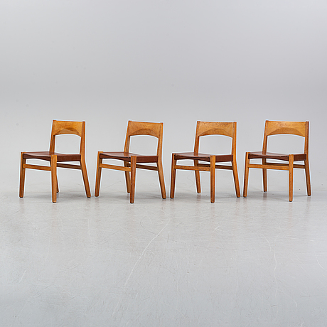 Four oak chairs with leather seat by john vedel rieper, denmark, 1962.