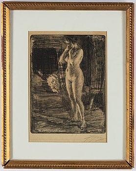 Anders Zorn, etsning, 1906, signerad med blyerts.