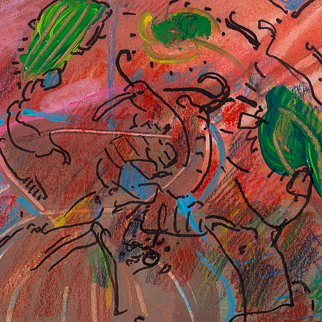 Peter max, mixed media on paper, signed.