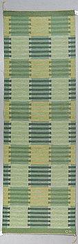 "Carl Malmsten, a runner, ""Capella"", flat weave, ca 303 x 98 cm, signed CM."