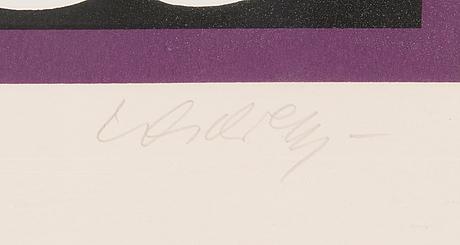 Victor vasarely, serigrafi, signerad och numrerad 19/100.