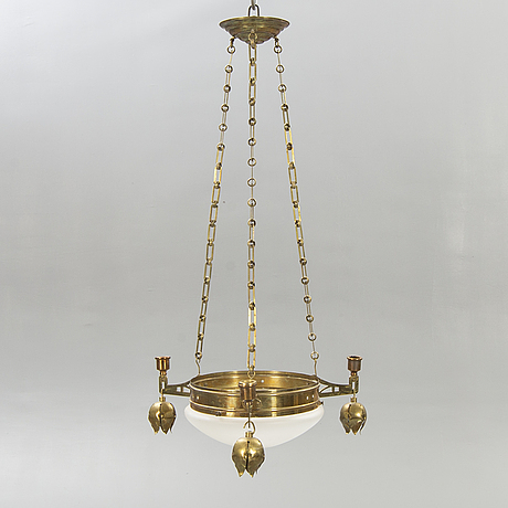 A brass ceiling lamp around 1900.