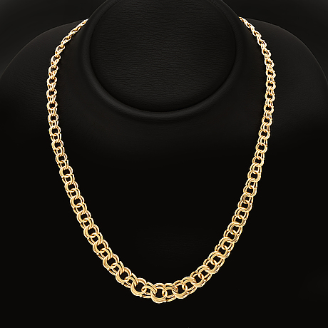 Necklace 18k guld, graduated, 47,7 g, length and widest part approx 48 x 1 cm.