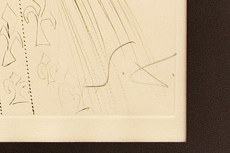 Salvador dalí, etching and dry needle in color, 5 pcs, signed and numbered.