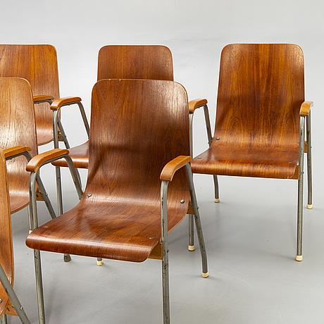 Armchairs, 6 pcs, mid-20th century.