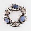 Bracelet, silver and cabochonslipade blue chalcedony, gussi smycken ab, malmö, 1951.