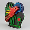 Beverloo corneille, sculpture, painted wood, signed and dated 2000, numbered 15/150.