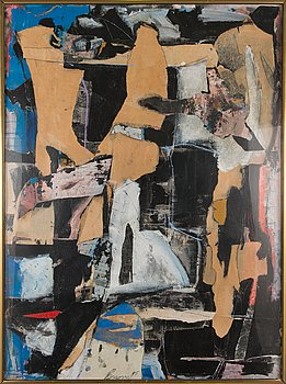 Timothy Persons, oil and mixed media on paper, signed and dated -85.
