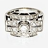 Ring 14k whitegold brilliant and single-cut diamonds approx 0,90 ct.