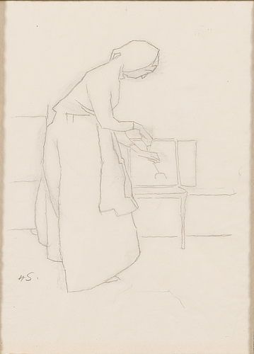 Helene schjerfbeck, at the hearth.