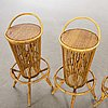 A bamboo and arattan bar with four chairs, p.c. bonacina, italy, 1950's.